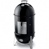 """18.5"""" SMOKEY MNTN COOKER SMOKER 721001 2 HEAVY-DUTY PLATED STEEL COOKING GRATES, TWO 18.5 INCH DIAMETER COOKING AREAS,PORCELAIN ENAMELED BOWL,LID,AND WATERPAN, NO-RUST ALUMINUM VENT, NO-RUST ALUMINUM FUEL DOOR,1 GLASS REINFORCED NYLON HANDLE. INC"""