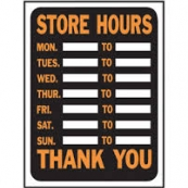 9X12 PLASTIC SIGN STORE HOURS